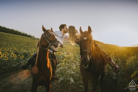 Adana Turkey engagement photo session - the horse was shocked while they are kissing each other