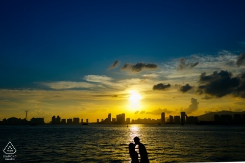 Pre-Wedding Engagement Portrait during sunset at the water in Fujian, China