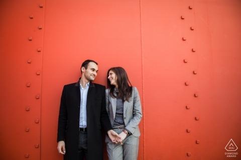 Paris, La défence, France Pre-Wedding Engagement Shoot - A couple loving red