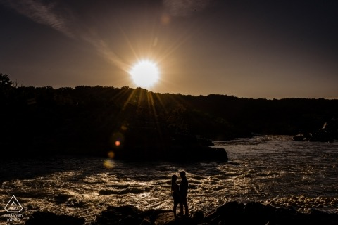 Great Falls National Park Sunrise Engagement Shoot at the Water for Pre Wedding Portraits.