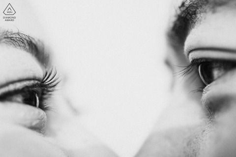 Engagement Photographer for Fujian - Portrait contains: tight, detail, black, white, eyes, eyelashes, couple
