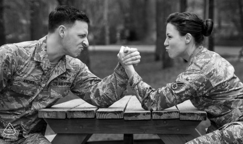 Engagement Photos from Georgia - Old Fourth Ward Park | Military couple arm wrestles