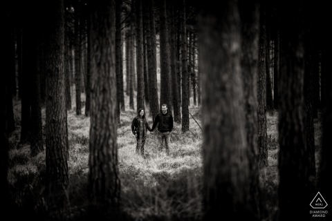 Verlobungsfotograf für Moors Valley, Dorset - Porträt eines Paares zwischen den Bäumen