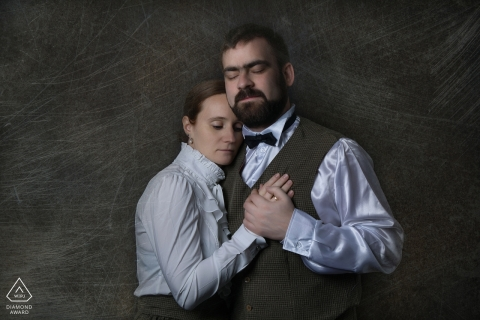 Engagement Photography for Grand Est - Image contains: studio, portrait, couple, engaged, retro, 1800's