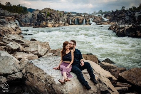 Engagement Portrait from Great Falls National Park - Image contains: couple, rocks, river, rapids