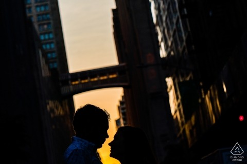 Engagement Photographer for Union Park, nyc - Silhouette couple about to kiss