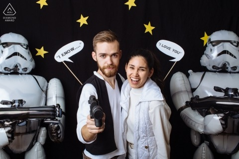 Engagement Photographer for Washington - In a galaxy far, far away... Couple is engaged next to Stormtroopers