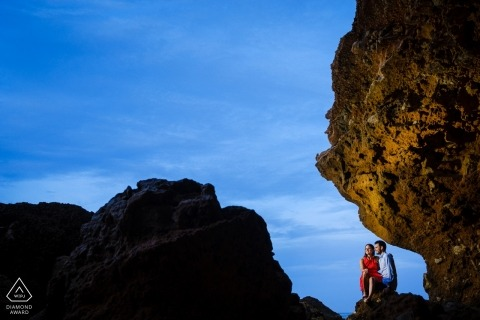 Engagement Photos from Alicante - Portrait contains: rock, couple, evening