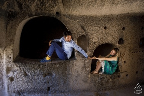 Engagement Photos from Turkey Cappadocia pre wedding session in a cave