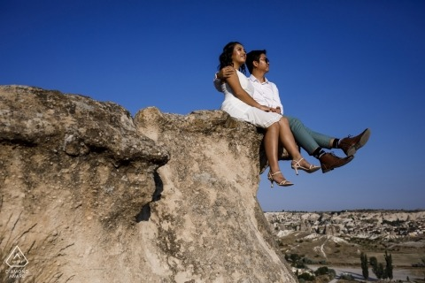 Engagement Photographer for Turkey - Cappadocia pre wedding session on love valley