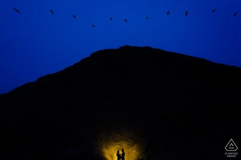 Engagement Portrait from baker beach san francisco with birds