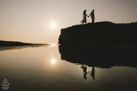 Engagement Photography for İstanbul - Image contains: couple walking on rock