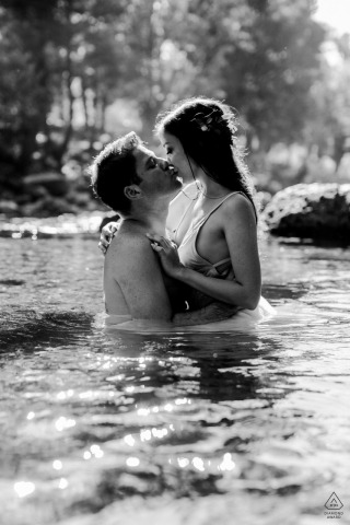 Engagement Photos from Antalya - Portrait contains: black and white, couple, kiss, trees, lake