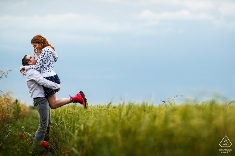 Engagement Photos from couple session on the hay fields near Floresti Romania