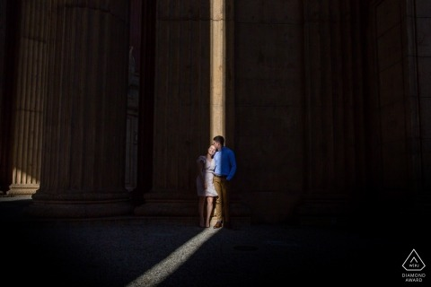 Engagement Photos from California - San Francisco - Portrait contains: couple, shaft, light, shadows
