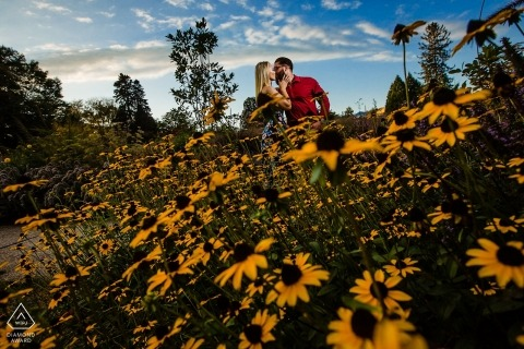 """Engagement Photos from Philadelphia - Longwood Gardens - """"I was looking for color, saw the flowers contorted myself and got the shot."""" -Photographer"""