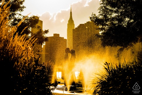 Engagement Photography for NY - Gantry Plaza State Park -  Portrait by the water fountain