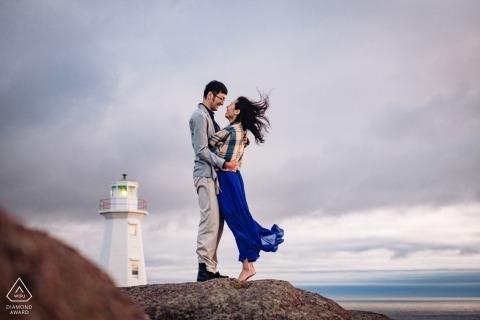 Sunrise Couple Portraits at Cape Spear Light House in Newfoundland, Canada