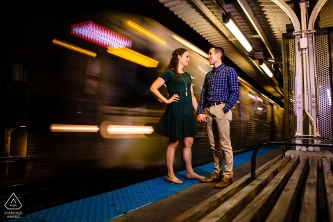 Red Line, Chicago Metro station Engagement portrait session with slow-shutter