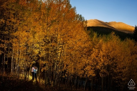 Breckenridge, CO Engagement Photographer: Back-lit in a patch of golden aspen trees with Mt Boreas lit by the sun in the background.