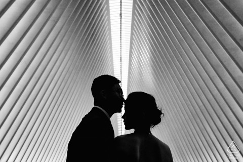 world trade center - engaged couple silhouette during portrait shoot