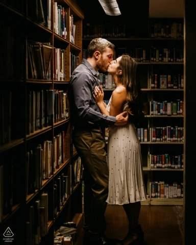 Ames Library | Easton, MA pre-wedding photographer: this couple found the cutest corners for their library engagement session