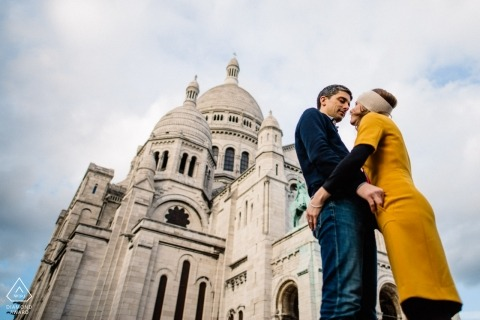 Montmartre, Paris, France Engagement Photographer: Couple in front of Basilique du Sacré Cœur