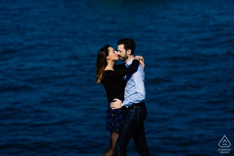 Biarritz, France Couple at the Atlantic Ocean for Engagement Portraits by the Sea