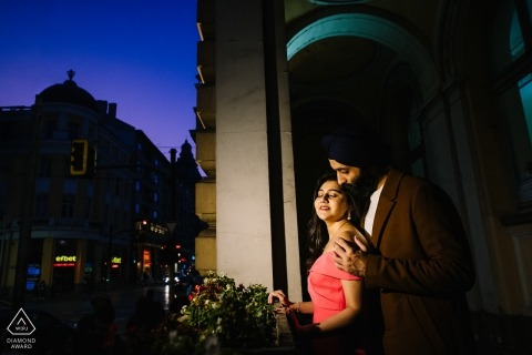 Sofia, Bulgaria Night portrait - Couple session with a light