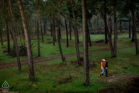 Drunense Duinen Holland engagement photo shoot | Couple in love in an forest