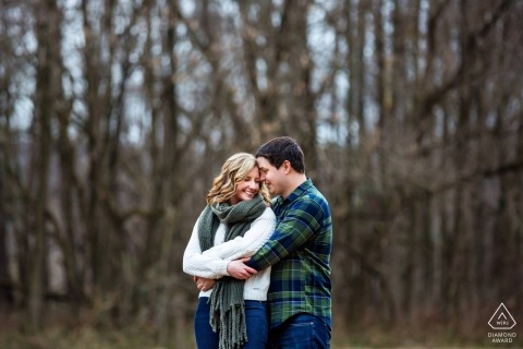 Frenchtown, New Jersey winter engagement session in the bare trees
