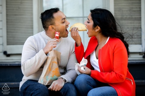 Chicago, IL Taco Bell Engagement session - Couple eating tacos during picture shoot