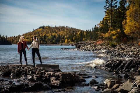 Minnesota Duluth Couple on the rocks