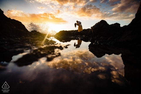 Sunset reflections with waves - Couple dipping portrait - Wailea, Maui, Hawaii