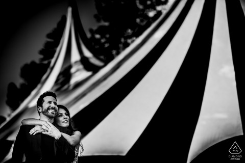 Prague PreWedding Portraits - Couple with a Circus tent