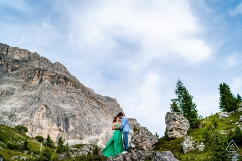 Dolomites, Italy Engagement portraits with a couple in the mountains