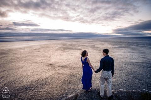 Signal Hill Newfoundland Pre-Wedding Portrait session at the sea