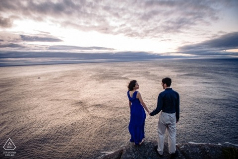 Signal Hill Newfoundland Pre-Wedding Portrait session at the sea