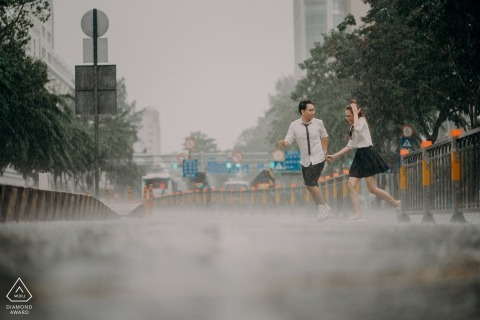 SAIGON, VIETNAM Engagement photoshoot in the rain