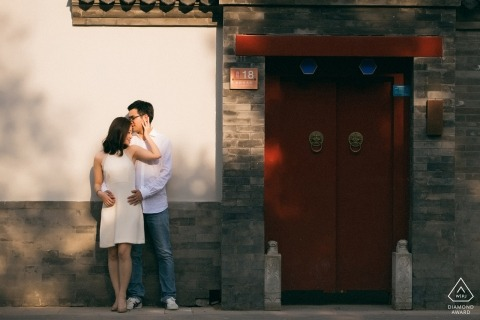 Sesión fotográfica previa a la boda en Beijing China para una pareja comprometida
