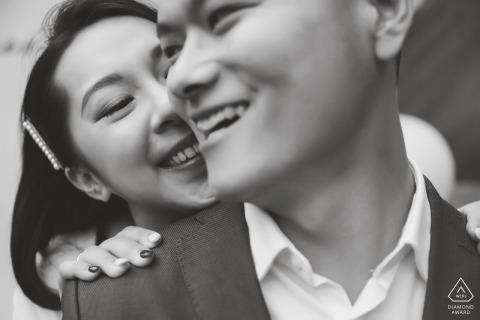 Beijing China Black and White Close-Up Engagement Portraits