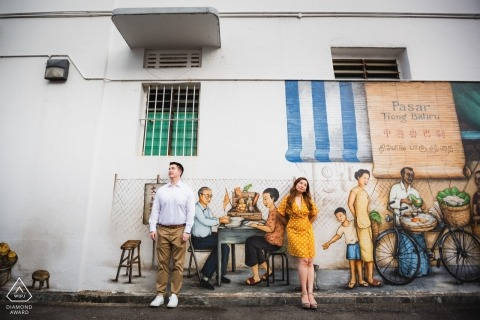 Tiong Bahru Estate, Singapore Couple Portraits | Daydreaming at the wall murals that adorn the neighborhood