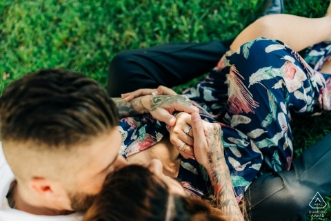 Napa Valley Engagement Photography — A moment in love for couple | Tattoos and Rings