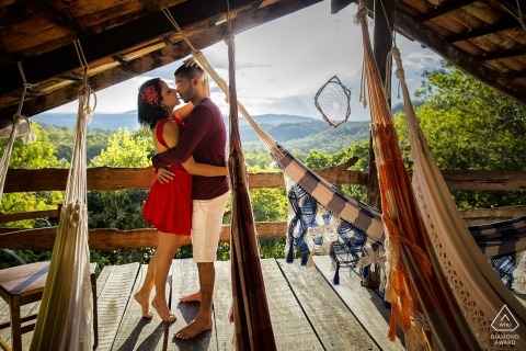 Brazil Pirenópolis engagement photo session above the mountain tops