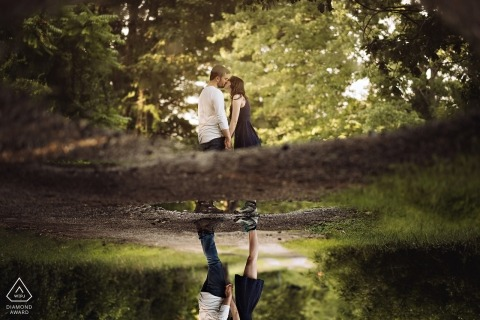 Bear Mountain State Park — Engagement picture of kissing reflection