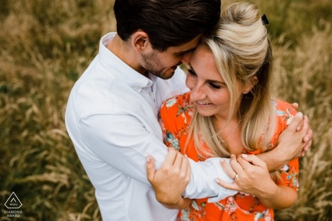 Heath, West Sussex engagement session - Couple Hugs with love