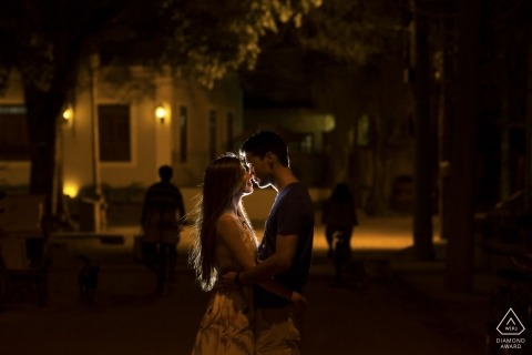 Ilha de Paquetá, Rio de Janeiro, Brazil pre-wedding shoot | They love Paqueta Island, the place they chose for their engagement. Nightfall left a mood of romance in the air!