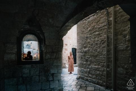 Portrait during engagement shoot in Puglia