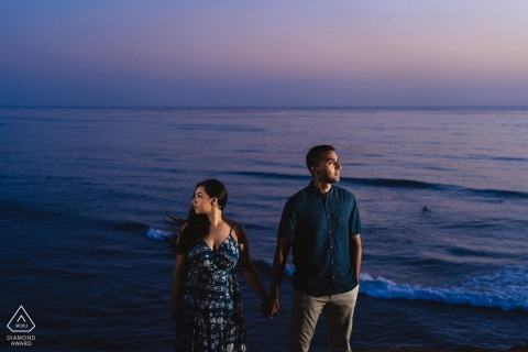 San Diego, Ca engagement shoot session | Couple lit creatively in front of the ocean background