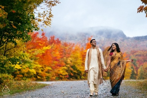 Couple among the fall colors at Mont-Orford, Quebec